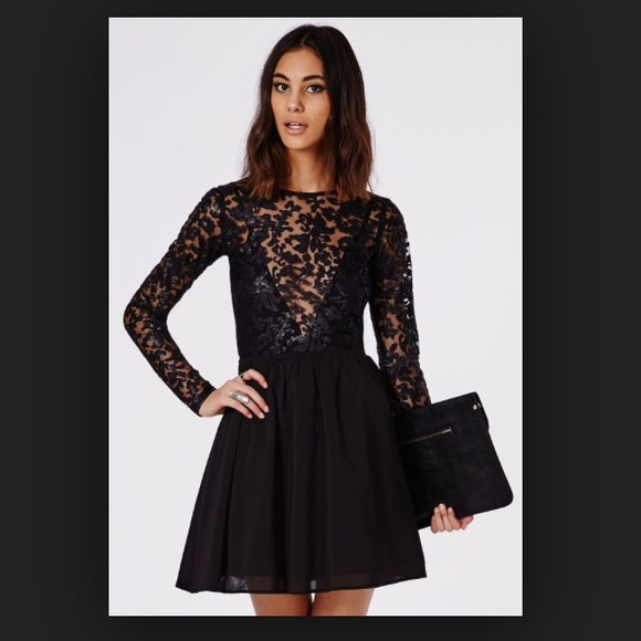 Long sleeve lace skater dress from Missguided ce4b39d8be37
