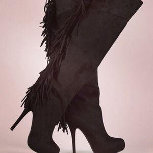 Suede fringe knee high stiletto boots