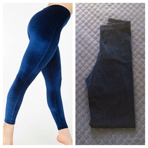 Navy Blue Velvet Leggings