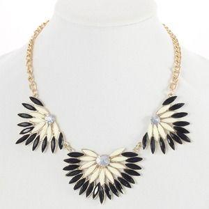Black and white fan fare statement necklace