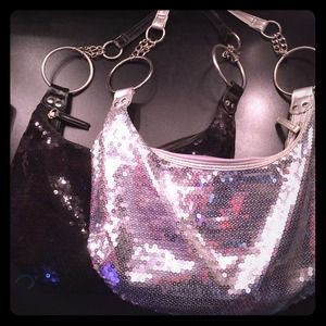 anchor blue Handbags - Black and silver sequin purses