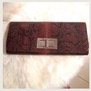 Handbags - Textured Snake Print Clutch