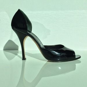 Manolo Blahnik Black Patent Leather Heels