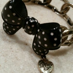 Betsey Johnson Black and Gold Bow Bracelet