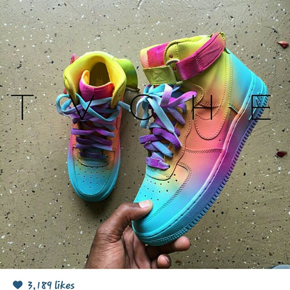 big sale eb1c3 5e4d5 Multicolor Dipped Air Forces. NWT. Nike