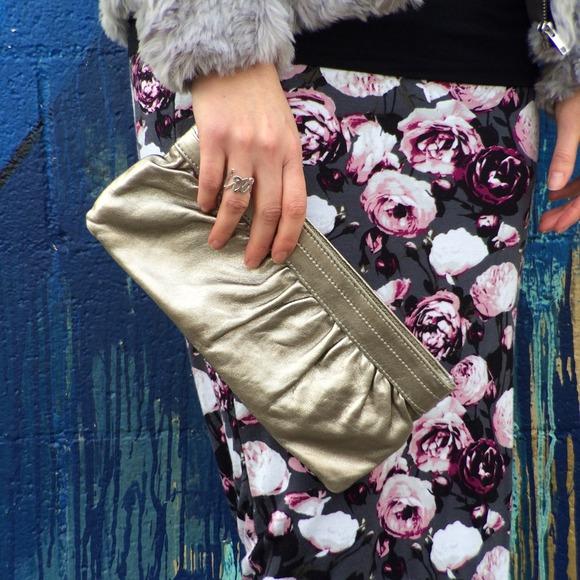 Silver Metallic Faux Leather Clutch