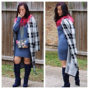 Forever 21 Outerwear - 20% OFF TODAY B&W Grey Plaid Duster Cardigan