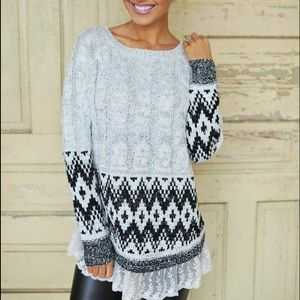 Boho Aztec Tribal Pullover Knit Sweater M/L