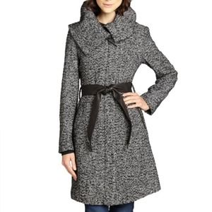Cole Haan black and white leather belt wool coat