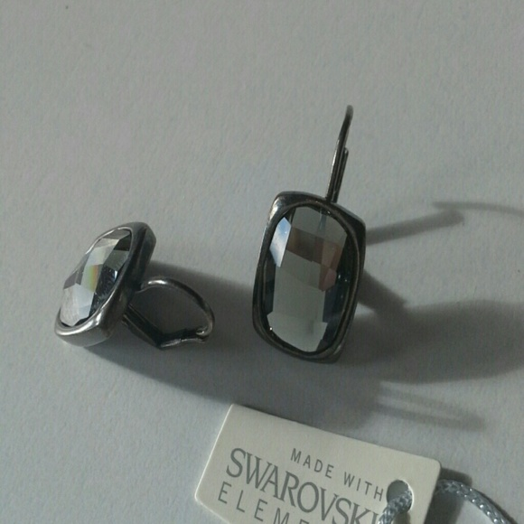 64% off Swarovski Jewelry REAL SWAROVSKI CRYSTAL BLACK DIAMOND EARRINGS fro