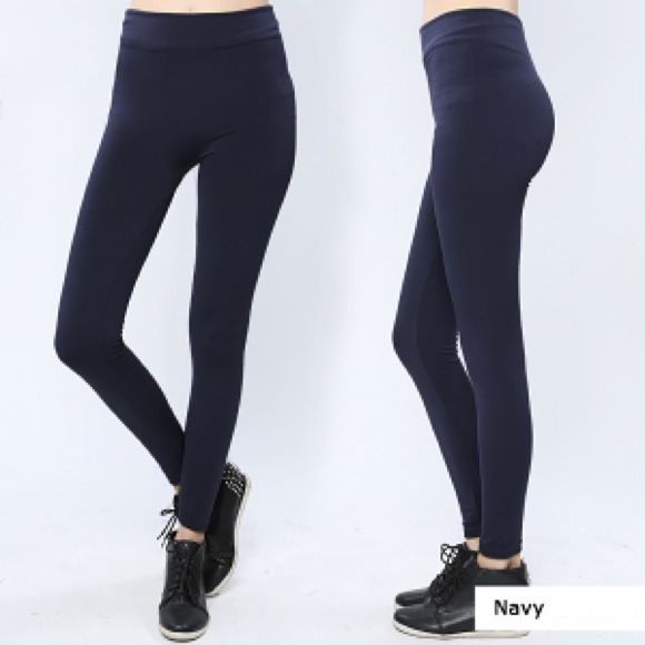 50% off Luxurious Accessories Pants - Thick Navy Blue fleece-lined ...