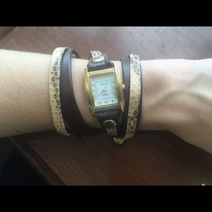 LA MER COLLECTIONS snakeskin leather wrap watch