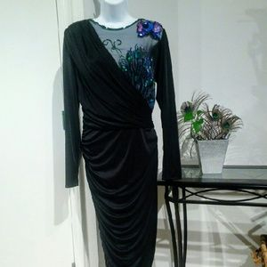 VINTAGE 80's Peacock Glam Cocktail Dress