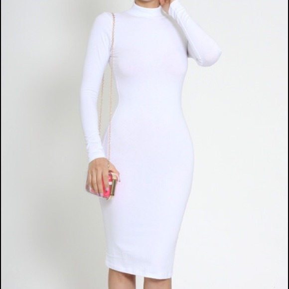 84% off Dresses & Skirts - White small turtleneck zipper Long ...