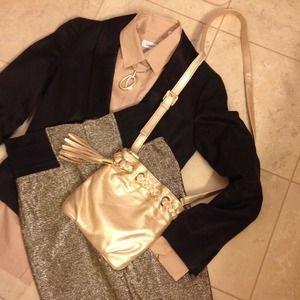Michael Kors Handbags - Michael Kors gold metallic  cross body purse