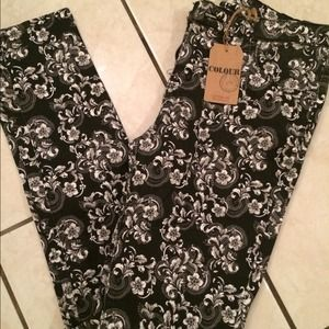 Pants - Black/white floral jeans