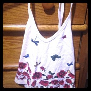 Small white halter top w/floral design