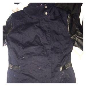 Navy Blue H&M Jacket w/  Faux Leather