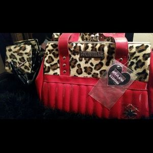 Lux De Ville Cherry Red & leopard bag