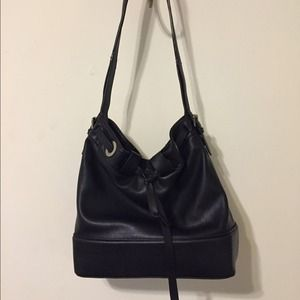 Zara Handbags - Zara black faux leather bucket bag