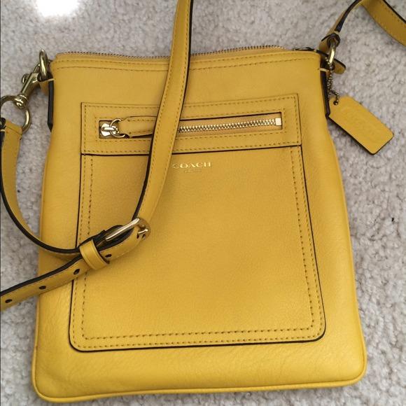 ca6c7dec555e Coach Handbags - Yellow mustard coach leather cross body