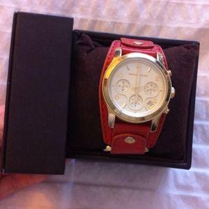 Michael Kors orange leather strap watch