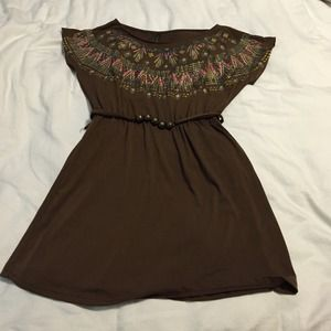 Dresses & Skirts - Lovely brown dress! Ties in the waist.
