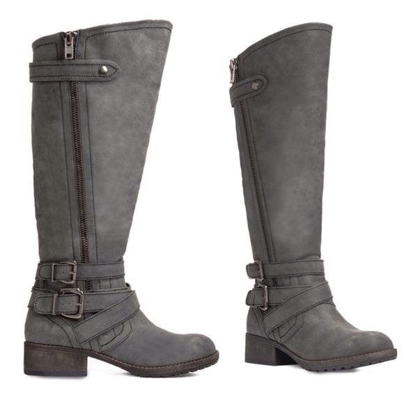 53 justfab boots wide calf grey moto boots