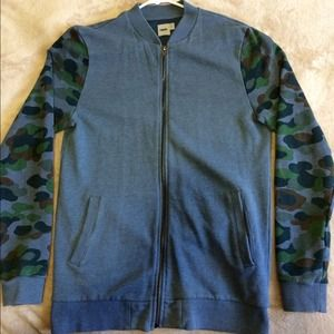 Men's small ASOS Bomber Sweater with Camo Sleeves