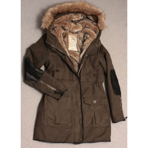 Zara - Zara Fur Lining Army Green Leather Patch Parka from ...