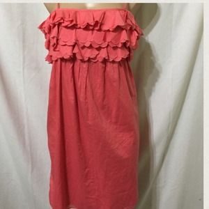 J CREW SALMON PINK FLORAL RUFFLE SUMMER DRESS
