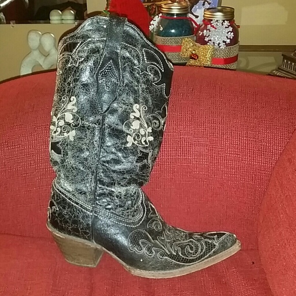 d914293c10a Distressed Vintage Lizard Inlay Boot With Snip Toe