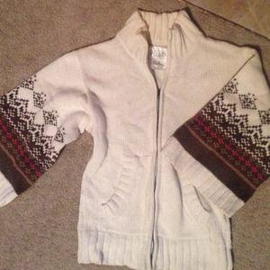 Cream zip up sweater