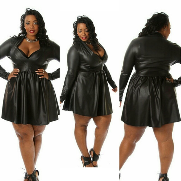 Dresses | Curvy Plus Vegan Leather Long Sleeve Skater Dress | Poshmark
