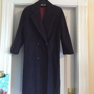 "Outerwear - Cashmere coat. Dark purple. Length 42"""