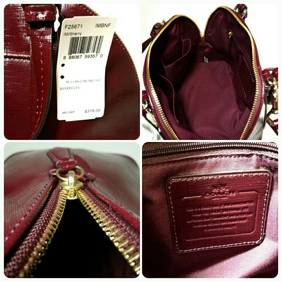 55% off Coach Handbags - New Coach domed burgundy patent leather ...