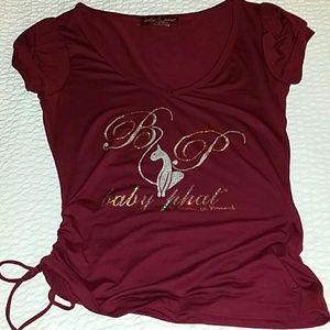 Baby Phat large maroon v-neck T-shirt