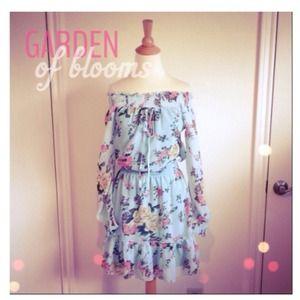 Dresses & Skirts - Blue & Pastel Floral Off The Shoulder Dress