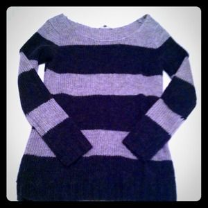 GAP VGUC Striped Colorblock Sweater Gray & Black