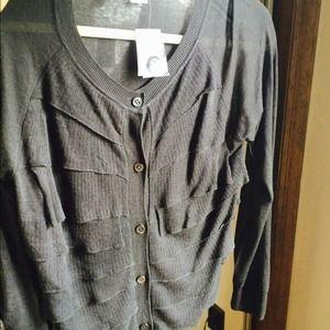 NWT J Crew Charcoal Grey Cardigan size L