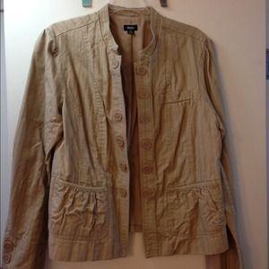 0ae50b4e7ebc Grey short sleeve sweater Tan feminine detail military style jacket.