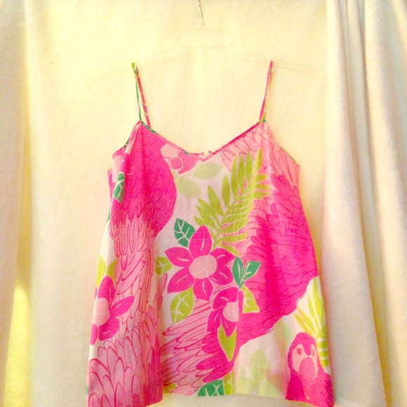Lilly Pulitzer Ports of Caw Parrot Top Size 8