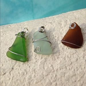 Sea glass necklace pendants