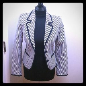 Navy Blue/White Striped Zara Blazer