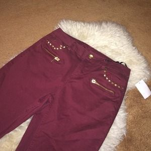 Charlotte Russe Pants - Burgundy Jeans With Studs & Zippers