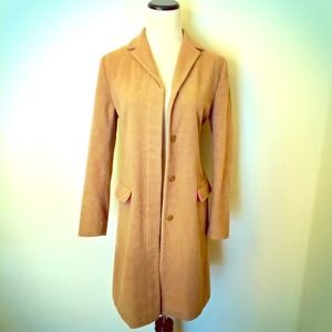 Tan Peacoat With Hot Pink Lining by GAP