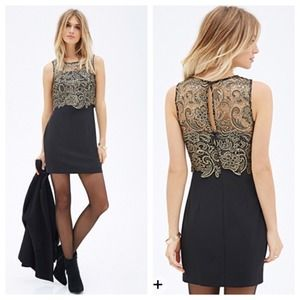 9dfef75514 Forever 21 Dresses - NWT Forever 21 gold and black lace combo dress
