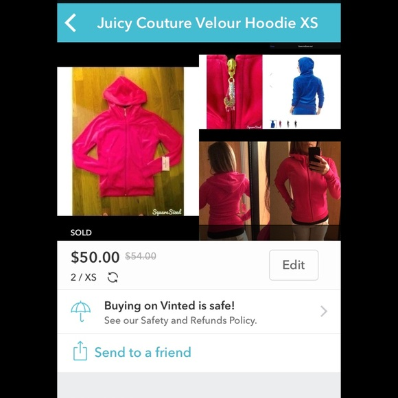 1496651958e SOLD on Vinted! Juicy Couture XS Velour Hoodie