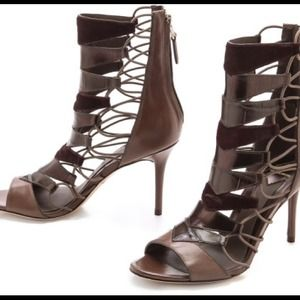 BNWB B Brian Atwood Gray Elody Open Toe Booties
