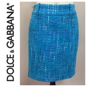 DOLCE & GABBANA Blue Tweed Skirt